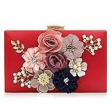 PARADOX (LABEL) Women Flower Clutches Evening Handbags Wedding Clutch Purse (Red)