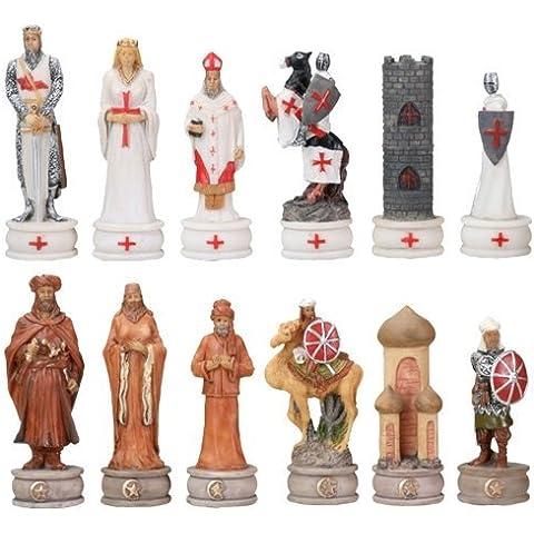 –Juego de ajedrez cruzadas Juego de 3pulgadas Medieval Caballeros y medio Oriente