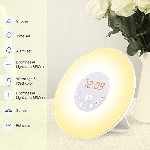 Generic 6638D Wecker Wake Up Light Lichtwecker, mit 7 Wecktöne, 7Farben, 10Dimmstufen (Neue Version) - 5