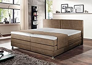 boxspringbett boxspring boxspringsystem bett springboxbett boxbett beige braun meliert. Black Bedroom Furniture Sets. Home Design Ideas