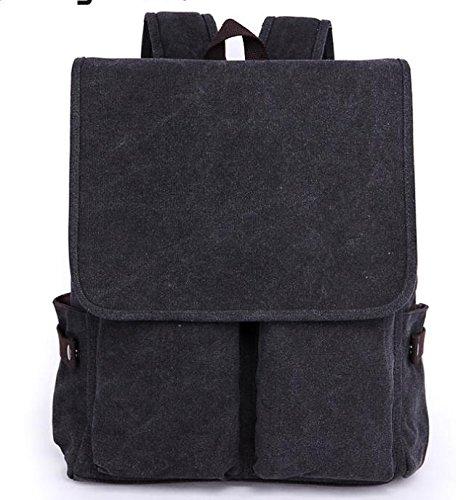 &ZHOU Segeltuchtasche, Canvas-Taschen, Notebook-Taschen, Umhängetaschen für Geschäft, Freizeit verschleißfeste Reisetaschen, Schultasche große Kapazität Handtasche Black