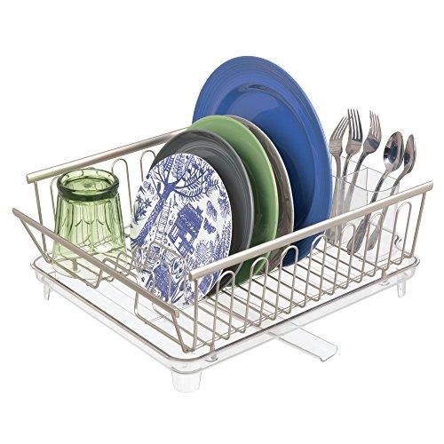 mDesign 2er-Set Abtropfgestell mit Abtropfschale – Abtropfablage für die Küchentheke oder Spüle – Geschirrabtropfer mit drehbarem Ausguss aus Metall und Kunststoff – mattsilberfarben und durchsichtig