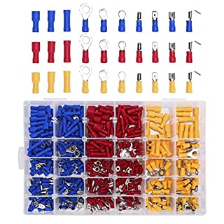 480pcs Crimp Terminal Connector Insulated Wiring Terminal Wire Terminal Kit Car Electrical Connectors Insulated Electrical Wiring Assortment Terminal Set with case