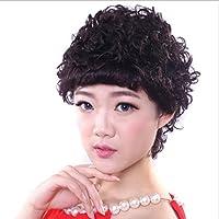 WEATLY Natural Black Short Curly Wigs - Parrucca Spring Roll con frangia  inclinata Parrucca sintetica quotidiana effe8ec267a5