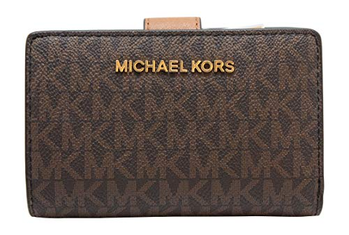 Michael Kors Jet Set Travel PVC Signature Bifold Zip Coin Wallet Clutch -