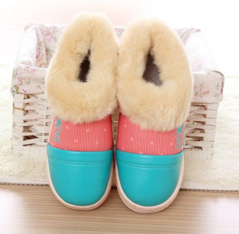 Paquete de parejas de invierno con zapatillas de algodón PU impermeable antideslizante interior hogar grueso algodón...