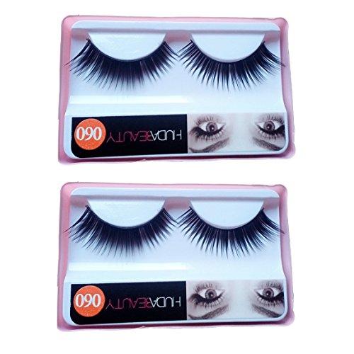 HUDA BEAUTY Imported 2 Pair Black Natural Thick Long False Eyelashes with Adhesive - 060