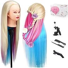 Beautystar: Cabeza de maniquí con cabello largo de 61 cm, 100 % fibra de alta temperatura, modelo con abrazadera y soporte para práctica.