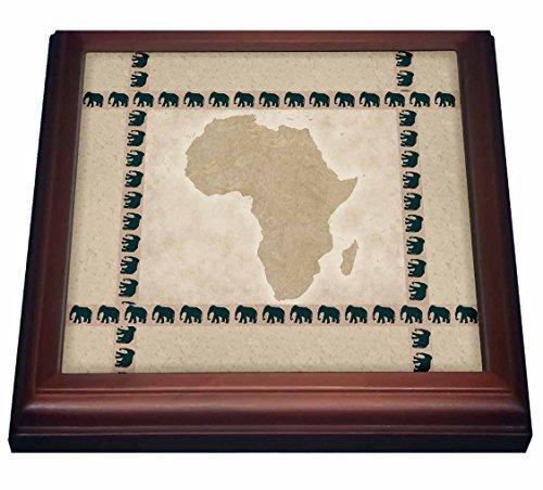 3dRose África con Elefantes azulejo, 8 por 8 Pulgadas, cerámica, marrón, 19,05...