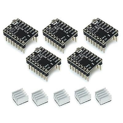 PoPprint StepStick MKS TMC2100 Schrittmotor-Treiber Ultra-Silent Mit Kühlkörper für 3D-Drucker (Packung mit 5 Stück).