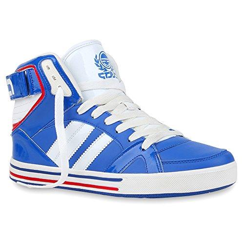 Herren Schuhe High Top Sneakers Cultz Sportschuhe Lack Schnürer Blau Rot