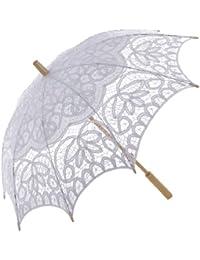 Topwedding ombrelle de mariage en coton avec des dentelles et poignee longue en bois,blanche