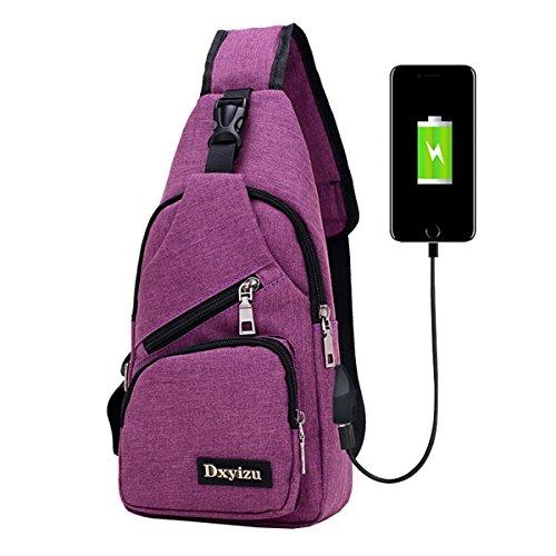 Super Moderne Unisex Nylon Schultertasche mit USB Port Multi Taschen Brust Tasche Cool Cross-Body-Tasche violett
