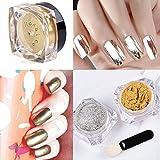 Hosaire Muñeca 2 caja Espejo Oro Plata Pigmento de uñas Glitter Nail Art cromo en polvo (Plata + Oro)