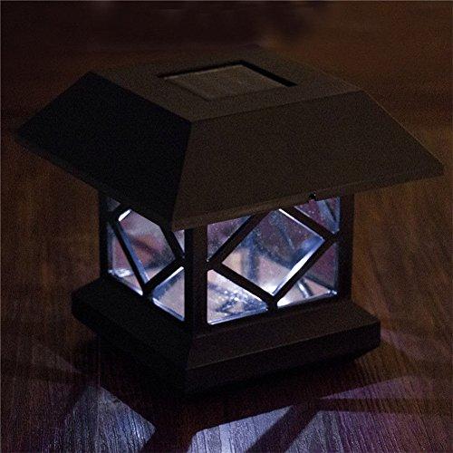 Zantec Jardin extérieur solaire LED Post du pont capuchon Sensor Auto Clôture lumière Paysage lampe Lampes solaires de chapeau de poteau lumière blanc