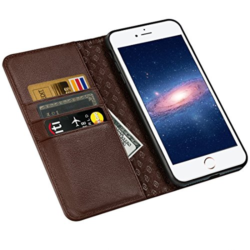 iPhone 6S Case iPhone 6 case ZOVER Genuine Leather Case Flip Folio Book Case Wallet Cover with Kickstand Feature Card Slots & ID Holder and Magnetic Closure for iPhone 6 and iPhone 6S Wine Red Brown