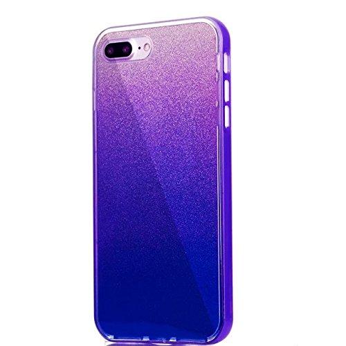 Etsue Glitzer Silikon Schutz HandyHülle für iPhone 7 Plus (5.5 Zoll) 2016 Laser Reflect Blue Light Bling TPU Hülle, Luxus Glitzer Glanz Silikon Handytasche Ultradünnen Weiche Durchsichtig Handyhülle S Glitter,lila