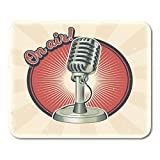 Mouse Pads Retro Vintage Old Microphone Made in Grunge Style Radio Mic Mouse Pad 7.08 (L)x 8.66 (W) inch for Notebooks,Desktop Computers Mouse Mats, Office Supplies