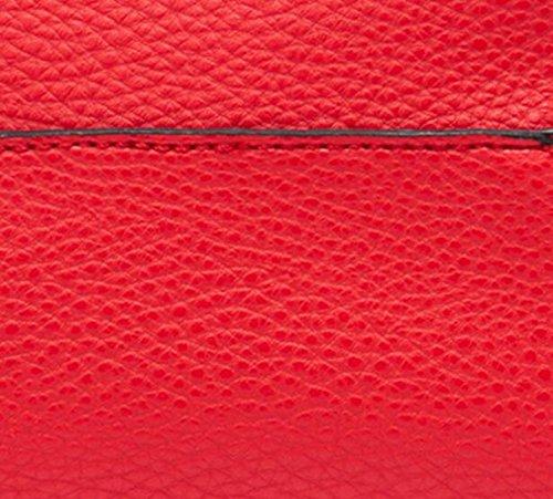 La Signora PU Borsa In Pelle Secchio Personalità Immagine Perforazione Pink