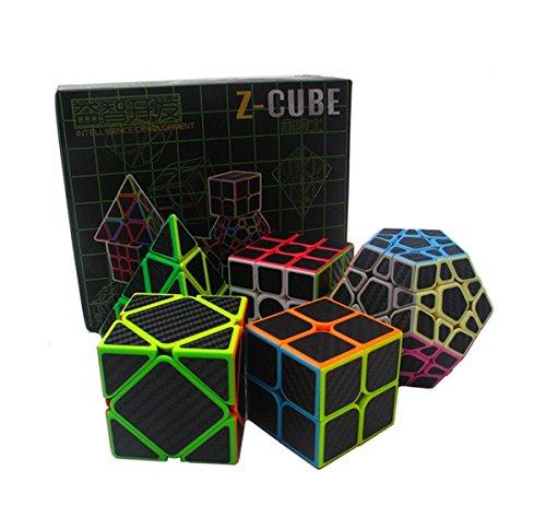 Pacchetto Puzzle EasyCame Speed Cube | Cubo Pyraminx Cubo 2X2 3X3, set Cubo senza adesivo in carbonio Cubo di Megaminx Firbe | Collezione di 5 cubi di cubi | Puzzle Toys Rompicapo Regali di (5 in 1)