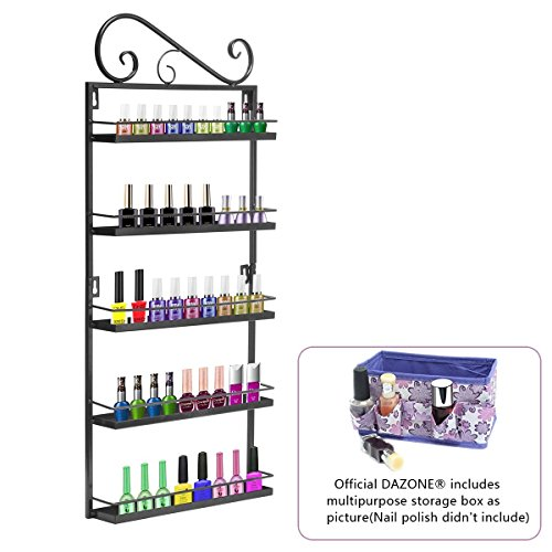 Dazone® 5-tier Metall Herz Nagellack Organizer Aromatherapie und ätherischen Ölen Regal Lippenstiftständer Aufbewahrung (Schwarz) -