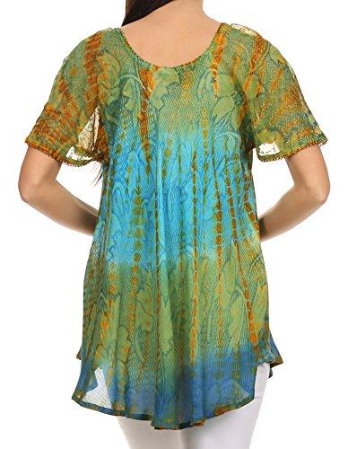 Sakkas Dina – camicetta/top larga con maniche, con ricami e lustrini, tinta a nodi Verde