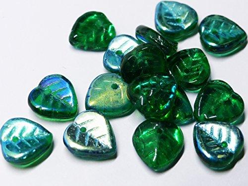 Lenka Republika 40(PCS) X 9mm Herz Form Tschechische Glas Drop Leaf Perlen–Blaugrün Grün Ab–Z083