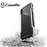 Caseme X-Doria Defense Clear Case for iPhone X Cover, Military Grade Drop Tested, Aluminum Coque for iPhone X Matte White