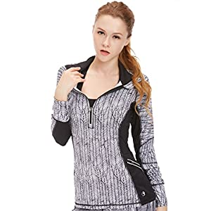 icyzone Damen Laufshirt Sport Langarm Shirt – 1/2 Reißverschluss Fitness Top Sweatshirt Laufjacke Trainingsjacke