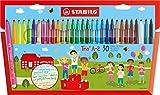 STABILO Trio A-Z - Étui carton de 30 feutres pointe moyenne - dont 5 couleurs fluo