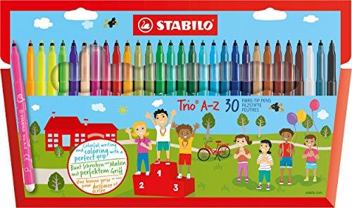 Filzstift und Fineliner in einem - STABILO Trio A-Z - 30er Pack - mit 30 verschiedenen Farben