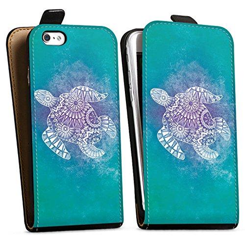 Apple iPhone SE Tasche Hülle Flip Case Mandala Turtle Schildkröte Muster Downflip Tasche schwarz
