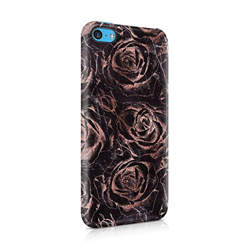 Rose Gold Roses On Black Marble Hard Thin Plastic Phone Case Cover For iPhone 5C