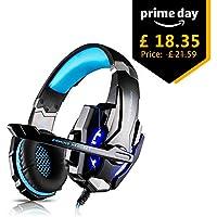 Tsing Auriculares Cascos Gaming de Diadema Cerrados con Micrófono USB Estéreo para PS4 Portátiles (Negro+Azul)