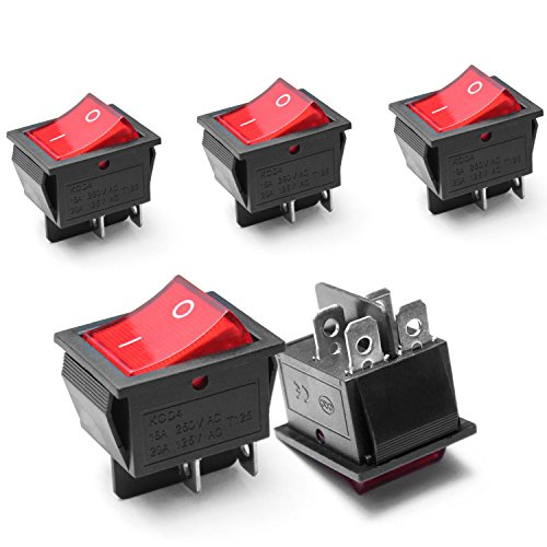 5Pcs Rot Beleuchtet 4 Pin DPST ON / OFF-Snap in Wippschalter 16A 250 V/20A 125 V AC - Snap In Wippschalter
