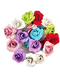 24 Pc Multi color Velvet Rose Flower Juda/Hair / Bun Pin Hair Accessories