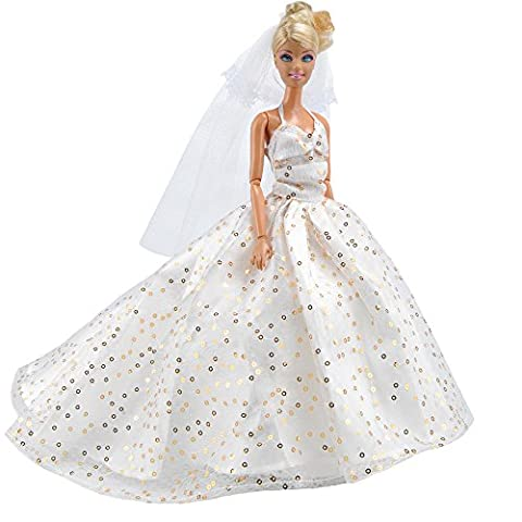 E-TING Princess Doll Wedding Gown Dress Lace Floral Dress Party Dress Prinecss Gown Clothes for Barbie Dolls