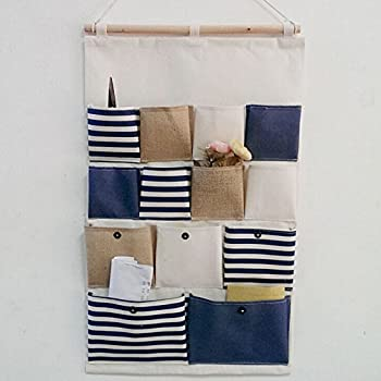 Highdas New Style Cotton Fabric Larger 13 Pockets Wall Door Closet Hanging  Storage Bag Organizer Retro Navy Stripe Blue