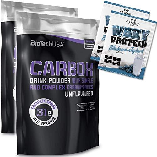 BioTech USA Carbox 2 x 1,0 kg Beutel kein Geschmack + C.P. Sports 2 x 25g Whey Protein