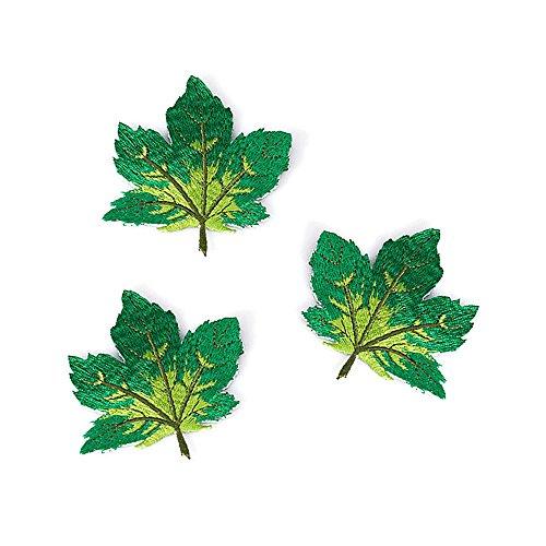 20Ahorn Blätter Stickerei Kleidung Patches bestickt abzeichen Aufnäher Motive für Craft Nähen grün (Kleidung, Die Loch-patch)