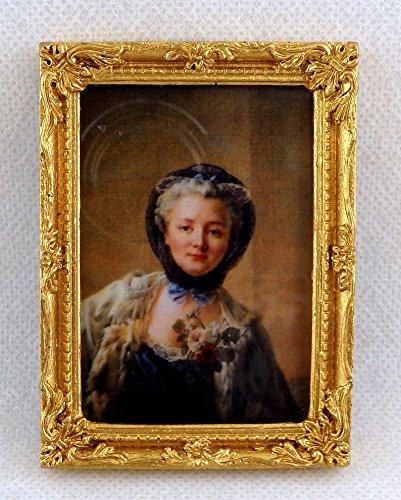 Puppenhaus Falcon Miniatur Zubehör Lady Bild Gemälde in Gold Rahmen (Womens Puppenhaus)