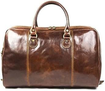 Sac fourre-tout unisexe - véritable cuir italien - marron - voyage/taille cabine P2JeNEO