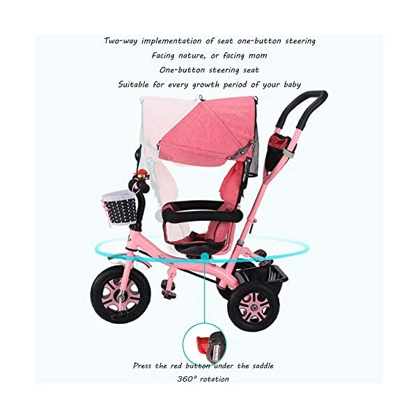 BGHKFF 4 In 1 Children's Hand Push Tricycle 6 Months To 6 Years 2-Point Safety Belt 360° Swivelling Saddle Children's Pedal Tricycle Folding Sun Canopy Childrens Tricycles Maximum Weight 25 Kg,Pink BGHKFF ★Material: Steel frame, suitable for children from 6 months to 6 years old, the maximum weight is 25 kg ★ 4 in 1 multi-function: can be converted into a stroller and a tricycle. Remove the hand putter and awning, and the guardrail as a tricycle. ★Safety design: Golden triangle structure, safe and stable;2 point seat belt + guardrail; rear wheel double brake 3
