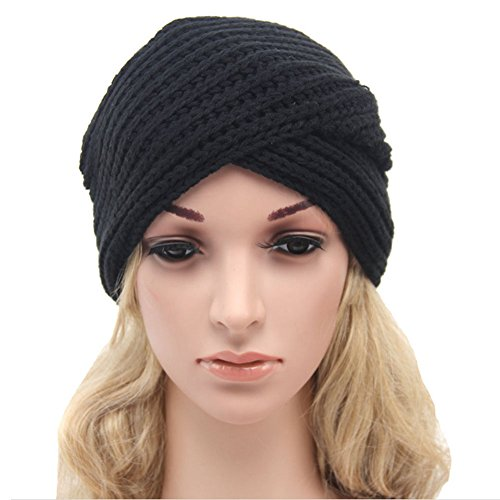 CLUB LANE(™) Women's Knitted Turban Hat (Black)