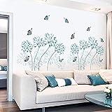 Diy flor azul sala de estar dormitorio decoración pegatinas de pared decoración del hogar moderno cartel wallpaper