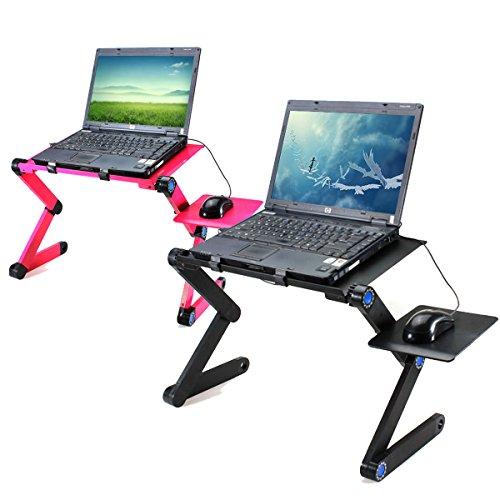 360 Klapp-Laptop-Schreibtisch Computer Tisch 2 Löcher Kühlung Notebook Tisch mit Maus Pad Laptop-Ständer - schwarz