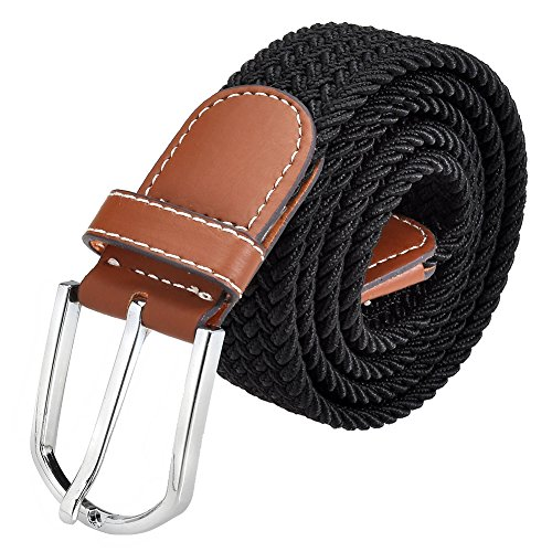 Ayliss Men's Elastic Fabric Woven Stretch Belt Cowhide Leather Inlay,Many Colours Available