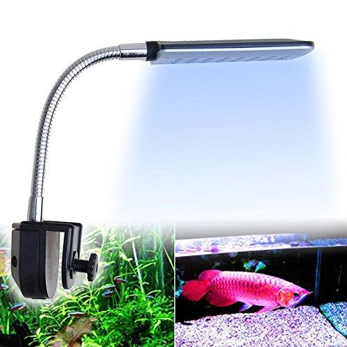18 Weiße+ 6 Blaue 24Leds 1.5W LED Aquarium Klemmleuchte Lampe Licht Fische Tank Beleuchtung mit flexiblem Tastenschalter für Aquarien Fish Tank