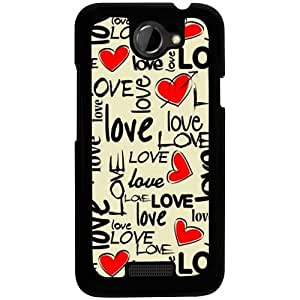Casotec Love Hearts Design 2D Hard Back Case Cover for HTC One X S720E - Black