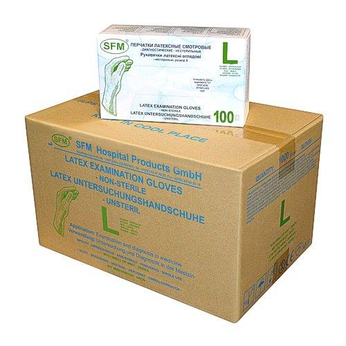 SFM ® MINT Latex : XS, S, M, L, XL grün gepudert glatt Einweghandschuhe Einmalhandschuhe Untersuchungshandschuhe Latexhandschuhe Minze L (1000)